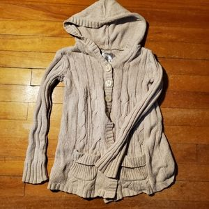 Double pocket hooded cardigan